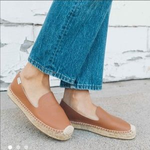 Soludos tan leather espadrille flats, size 6